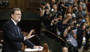 El líder del PP y presidente del Gobierno en funciones, Mariano Rajoy, durante su intervención en el debate de su investidura.