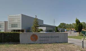 Imagen de la entrada a la sede de Thompson Reuters en Cizur Menor.