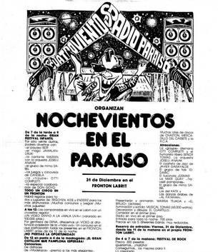 Cartel de la primera fiesta de disfraces en Nochevieja en Pamplona