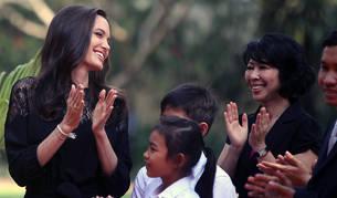 Jolie, durante los actos de estreno de su película sobre el genocidio del Jemer Rojo.