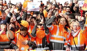 Los estibadores del puerto de Algeciras en una protesta.