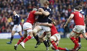 El escocés Richie Gray durante el partido contra Gales
