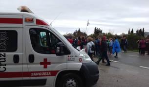 La ambulancia de Cruz Roja Sangüesa que estuvo cedida un año a bomberos, en uso esta pasada Javierada.