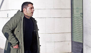 Mikel Goñi, a su llegada al Palacio de Justicia de Navarra.