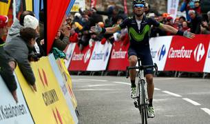Alejandro Valverde, en la meta de Lo Port.