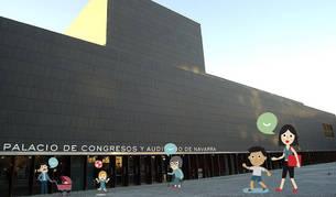 Fotomontaje de la fachada de Baluarte y los personajes creados para la imagen de 'Expofamily'.