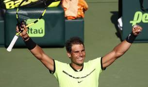 Nadal celebra su victoria ante Mahut en Miami