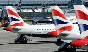 Aviones de British Airways en el aeropuerto londinense de Heathrow.