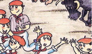 Postal «Caricaturas de España», nº 15, 1988. Pamplona. Fiestas de San Fermín. Dibujo de Pilarín Vallés de Luna (Vic, 1941).