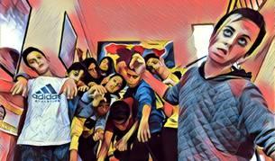 Foto de los alumnos de 1º de ESO que participaron en el cómic tratada con un filtro para móviles.