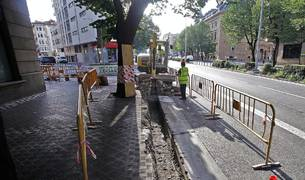 Las obras de reordenamiento del tráfico afectan al centro de Pamplona