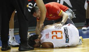 Sergio Llull, en el suelo tras sufrir la lesión de rodilla.