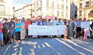 Imagen de la concentración de Tudela, que se celebró en la plaza de los Fueros.