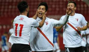 El futbolista del Sevilla B celebrando un gol