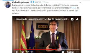 """Puigdemont exige a Rajoy """"aceptar"""" el 21-D y negociar con el """"legítimo Govern"""""""