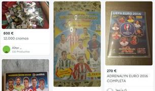 Imagen de varios anuncios de cromos de fútbol en Pamplona publicados en Wallapop.