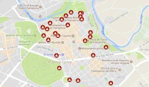 """Imagen del mapa con los """"puntos negros"""" de Pamplona."""