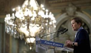 La presidenta de Navarra, Uxue Barkos, participa en un desayuno informativo del Fórum Europa, en Madrid.