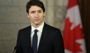 Imagen del primer ministro canadiense durante la rueda de prensa de este martes.