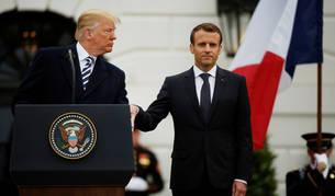 Imagen de el presidente Donald Trump junto a su homólogo frances, Emmanuele Macron.