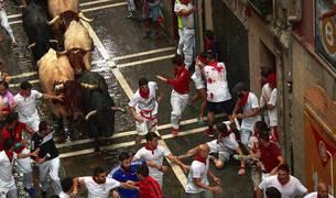 Imágenes del segundo encierro de los Sanfermines 2018, protagonizado por toros de José Escolar