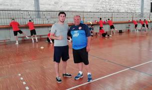 De izda. a dcha.: Lorenzo Nitti y José Lucas Mena 'Pato', durante un entrenamiento del Aspil.