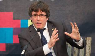 Carles Puigdemont durante su participación este domingo en el foro internacional Beyond Borders sobre el futuro de Cataluña y Europa en Innerleithen (Reino Unido).