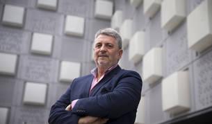 Julián García Angulo, presidnete de la Federación Española de Pelota, ayer por la mañana en el Pabellón Navarra Arena.