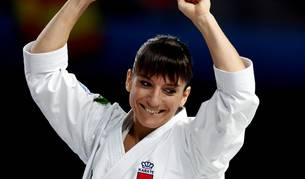 Foto de la karateca española Sandra Sánchez, tras la prueba de Kata femenina en la que ha obtenido medalla de Oro.