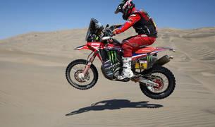 El estadounidense Ricky Brabec, en su moto Honda durante la séptima etapa del Rally Dakar 2019.