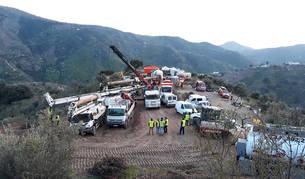 Operativo de rescate de Julen en la zona del pozo.