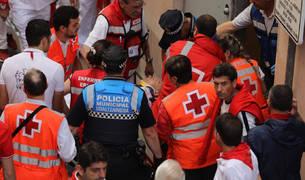 El pamplonés de 61 años, herido en este segundo encierro de los Cebada Gago, en la cuesta de Santo Domingo.