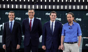 Los cuatro candidatos, en el último debate de RTVE.