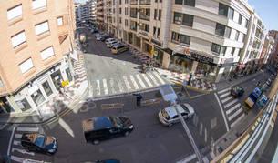 Foto de las calles Capuchinos y Sarasate, en Tudela.