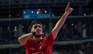 Eric Martel celebra un tanto en la pasada Copa de España.