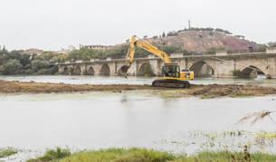 Una retroexcavadora trabaja sobre las gravas de la isla del Ebro, con el puente de acceso a Tudela al fondo.