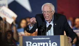 Bernie Sanders durante su discurso en la localidad tejana de San Antonio,