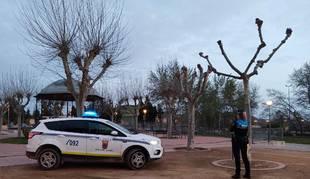 foto de Una agente y un coche de la Policía Local de Tudela.