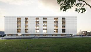 Imagen del edificio proyectado en Mutilva con viviendas sociales.