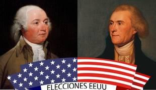 John Adams y Thomas Jefferson, candidatos en 1796.