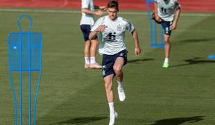 Diego Llorente durante un entrenamiento de la selección española en la Ciudad del Fútbol de las Rozas, en Madrid.