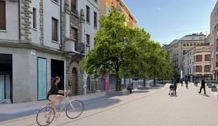 Recreación de cómo quedará la calle San Andrés tras su peatonalización completa.