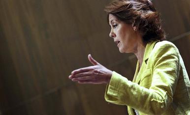 Yolanda Barcina, durante su comparecencia.