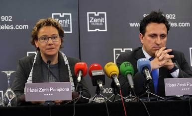 Lafón y Blanco, durante su rueda de prensa tras ser cesados por Sabalza.