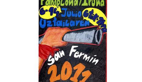 Imagen del cartel infantil de San Fermín que se hizo con el premio ganador en la edición del año pasado.