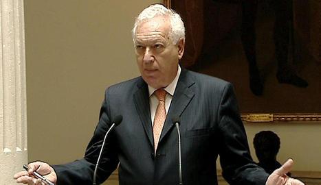 Imagen tomada de EFE-TV del ministro de Exteriores, José Manuel García-Margallo, durante una conferencia de prensa.