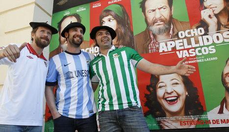 """Los actores Dani Rovira (c), Alberto López (i) y Alfonso Sánchez (d) antes de la presentación de la película """"Ocho apellidos vascos""""."""