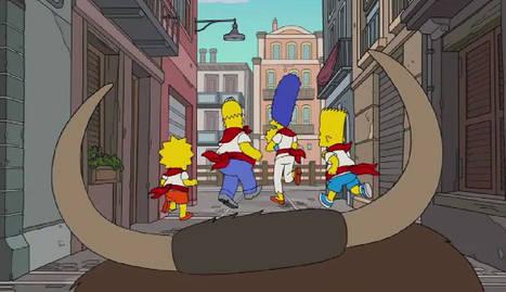 La familia Simpsons corriendo un peculiar encierro. @TheSimpsons