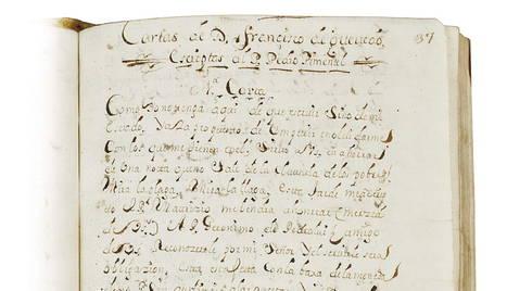 Uno de los documentos, copias del siglo XVIII, cuyos originales escribió Francisco de Quevedo y Villegas. efe