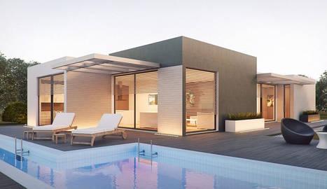 foto de una vivienda prefabricada de hormigón con piscina